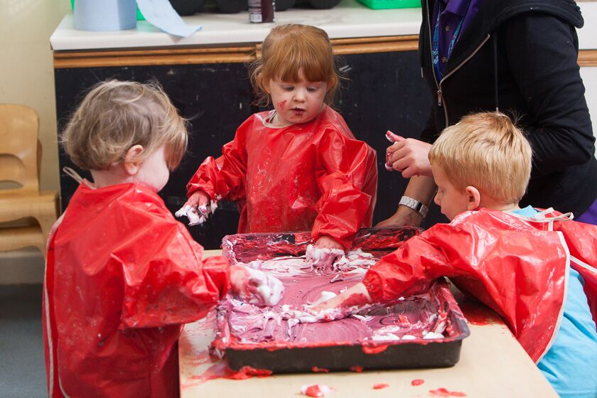 Messy play at Whale Island Nursery