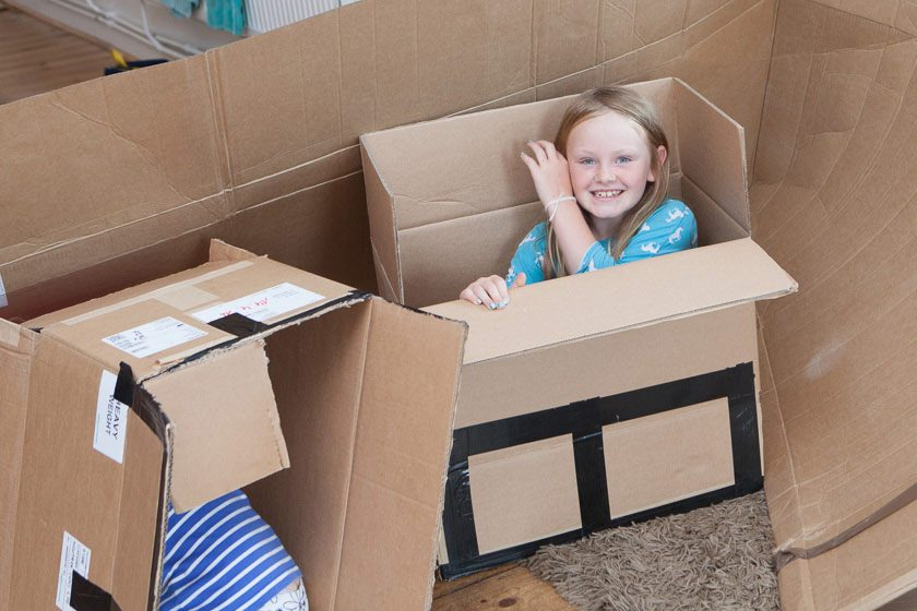 Child in a box at Isle of Wight Daycamps