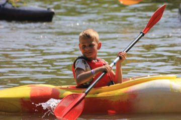 Kayaking during one of our campout weekends.