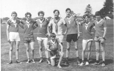 Black and white photo of football team