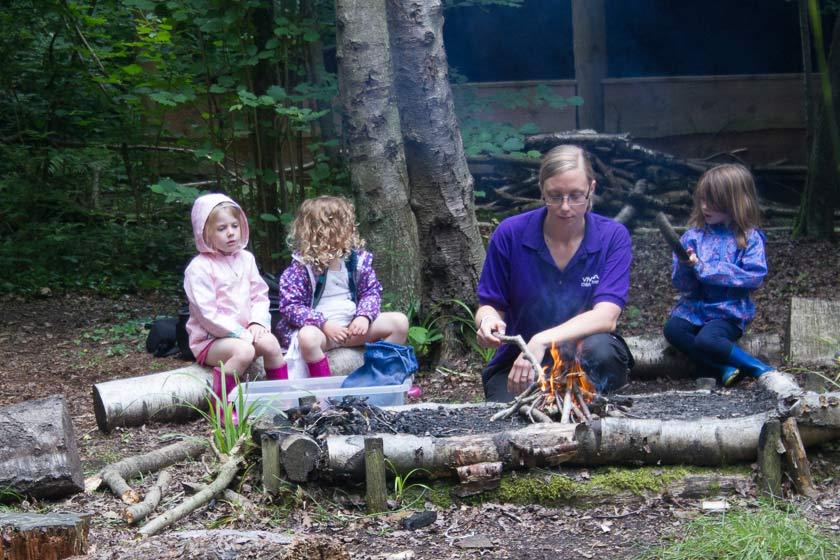 Fairthorne Manor ; Fairthorne Manor Nursery ; Foxes; Foxes Den ; Campfire ; Listening; Outdoors ; Wellies